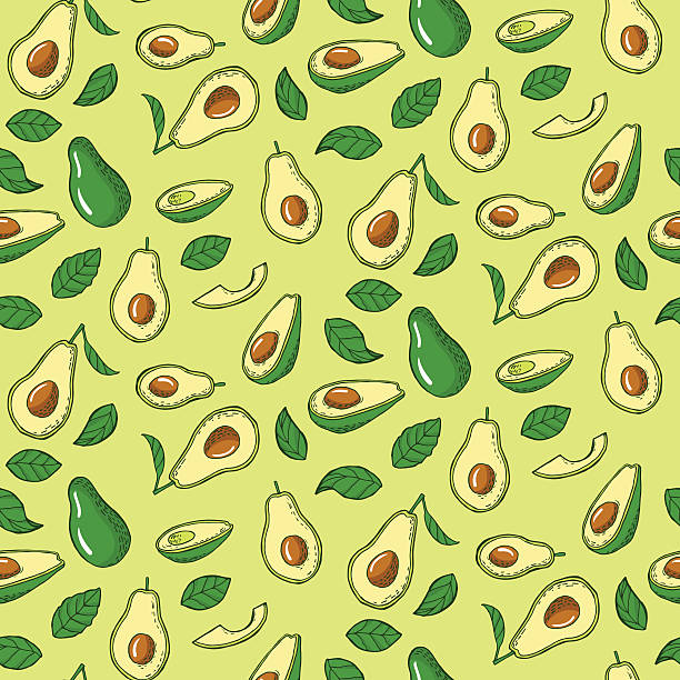Seamless pattern with avocado Seamless pattern with avocado. Vector illustration avocado patterns stock illustrations