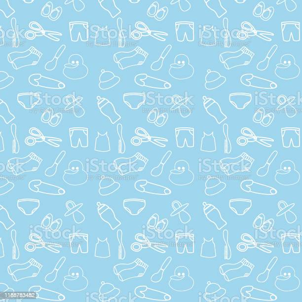 Seamless pattern with baby accessories for baby boys vector id1188783482?b=1&k=6&m=1188783482&s=612x612&h= qcz3vz4fp2tmri2seishwumballpsfzjpggjucnea0=