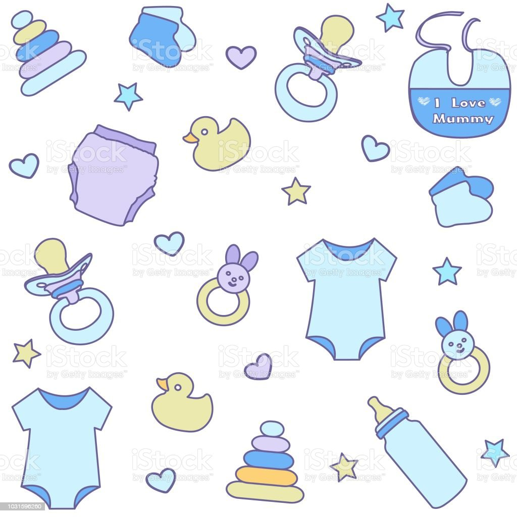 caec42be0 Seamless Pattern With Baby Boy Items Newborn Clothes And Accessories ...