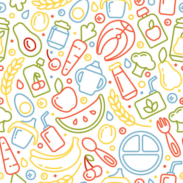 ベビーフードとのシームレスなパターン - ベビーフード点のイラスト素材/クリップアート素材/マンガ素材/アイコン素材