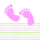 Seamless pattern with baby footprint. Footprints girls on striped background. vector