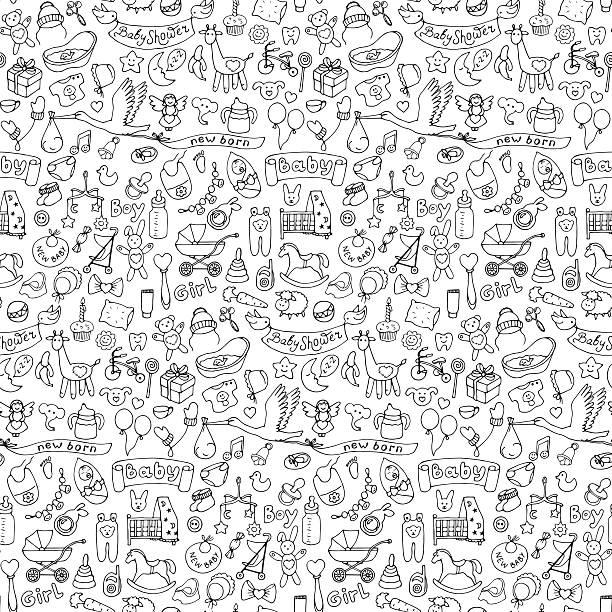 ilustrações, clipart, desenhos animados e ícones de sem costura padrão com bebê mão desenho doodle elementos - novo bebê