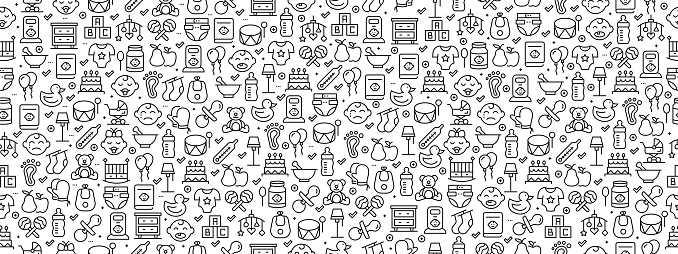 Seamless Pattern with Baby Icons