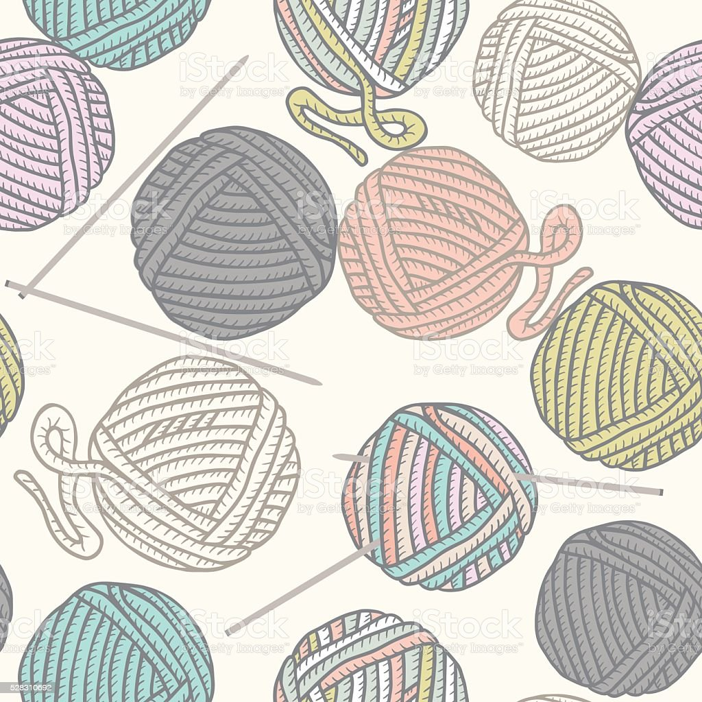 seamless pattern with balls of yarn and knitting needles