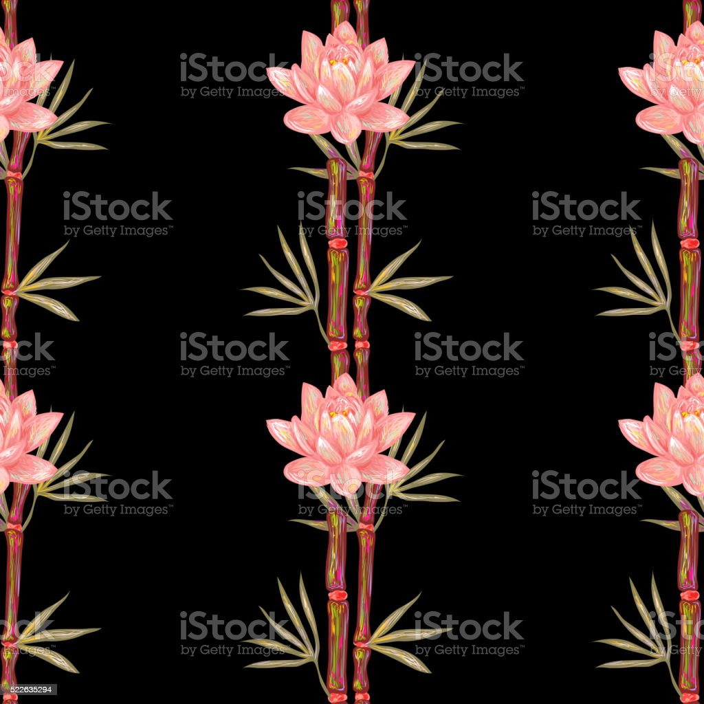 Seamless pattern with bamboo and lotus flowers vector art illustration