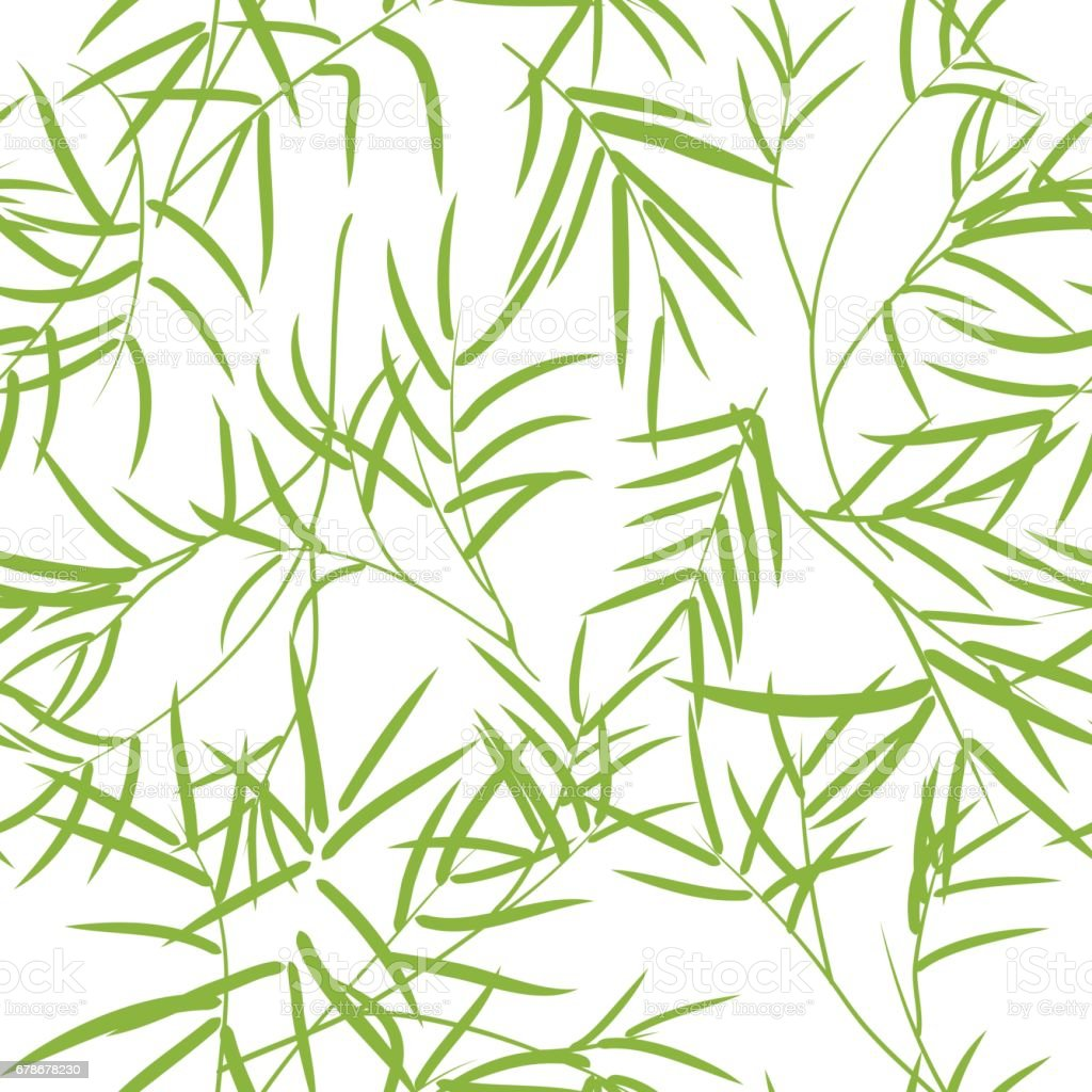 Seamless pattern with bamboo leaves. vector art illustration