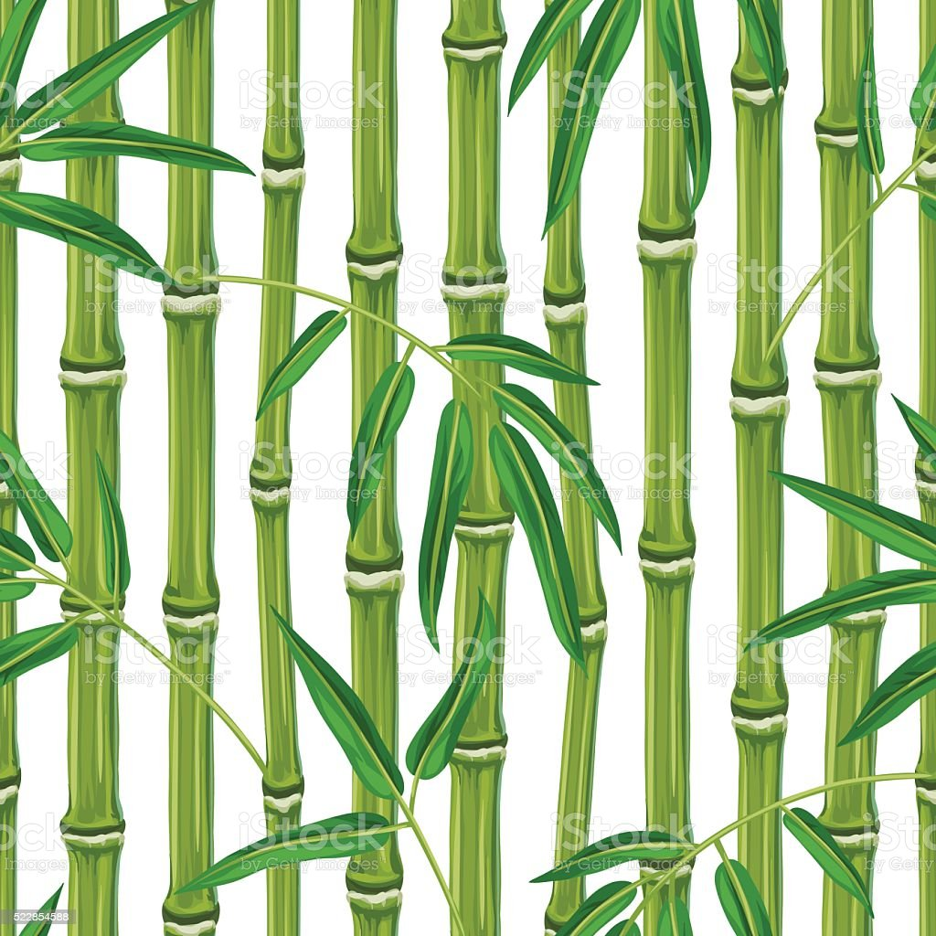 Seamless pattern with bamboo plants and leaves. Background made without vector art illustration