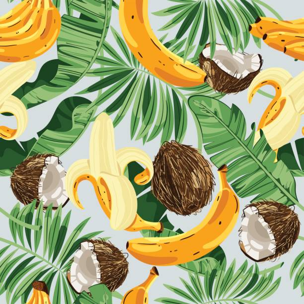 Seamless pattern with banana leaves, bananas and coconuts. Vector illustration. Seamless pattern with banana leaves, bananas and coconuts. Vector illustration. banana patterns stock illustrations