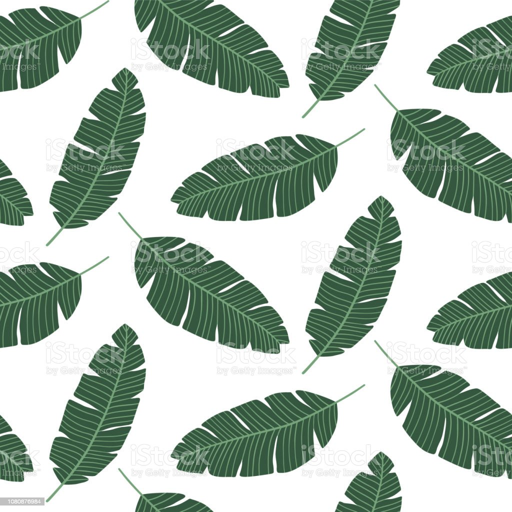 Seamless Pattern With Banana Leaves Tropical Print For