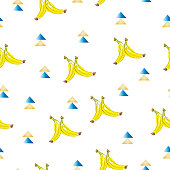 seamless pattern with bananas - exotic summer theme - white background