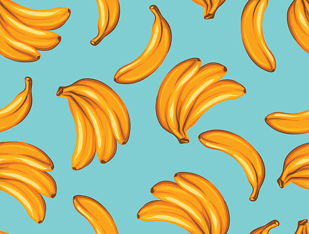 Seamless pattern with bananas. Tropical abstract background in retro style Seamless pattern with bananas. Tropical abstract background in retro style. Easy to use for backdrop, textile, wrapping paper, wall posters. banana patterns stock illustrations