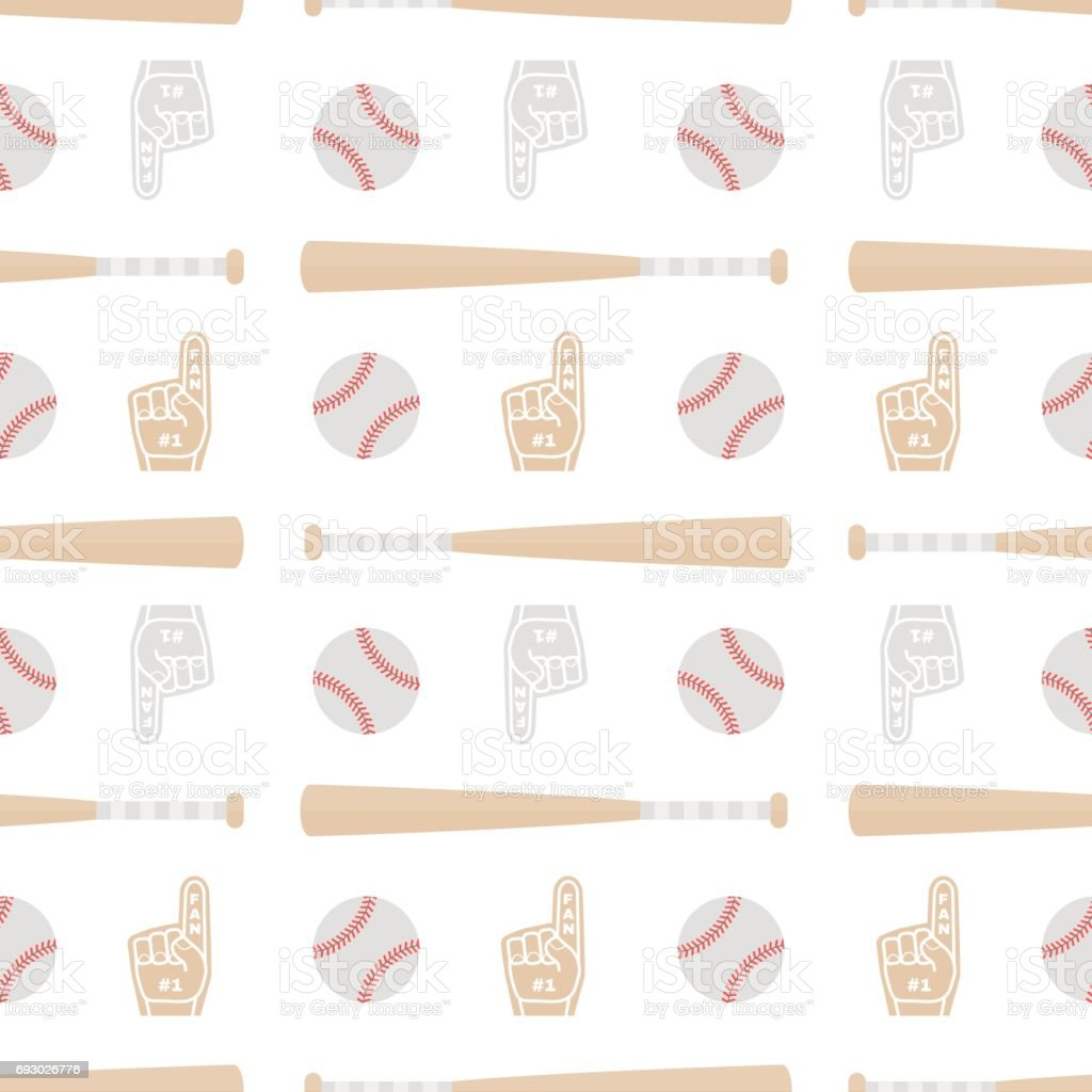 Seamless pattern with baseball bats, balls, and glove. Good for wrapping paper, postcards and promotional products. vector art illustration