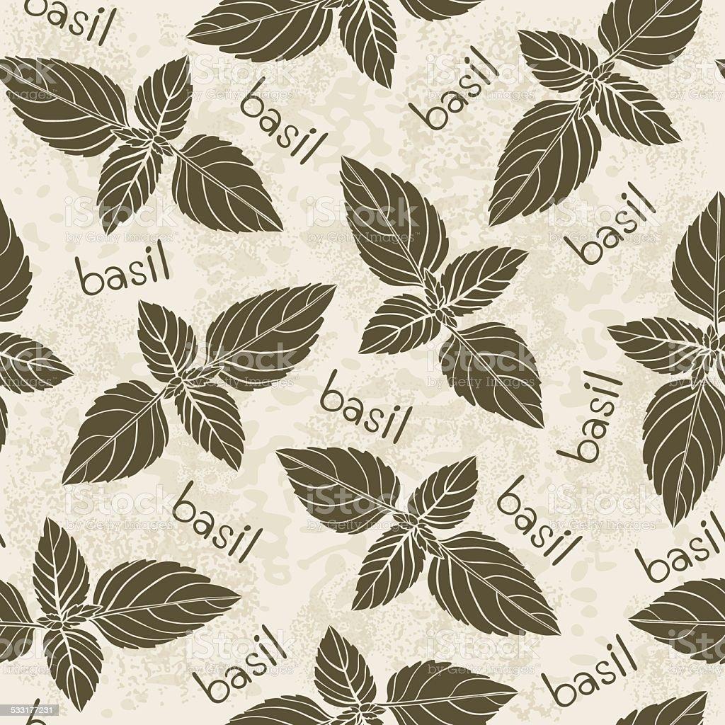 Seamless pattern with basil.  Monochrome vector illustration. vector art illustration