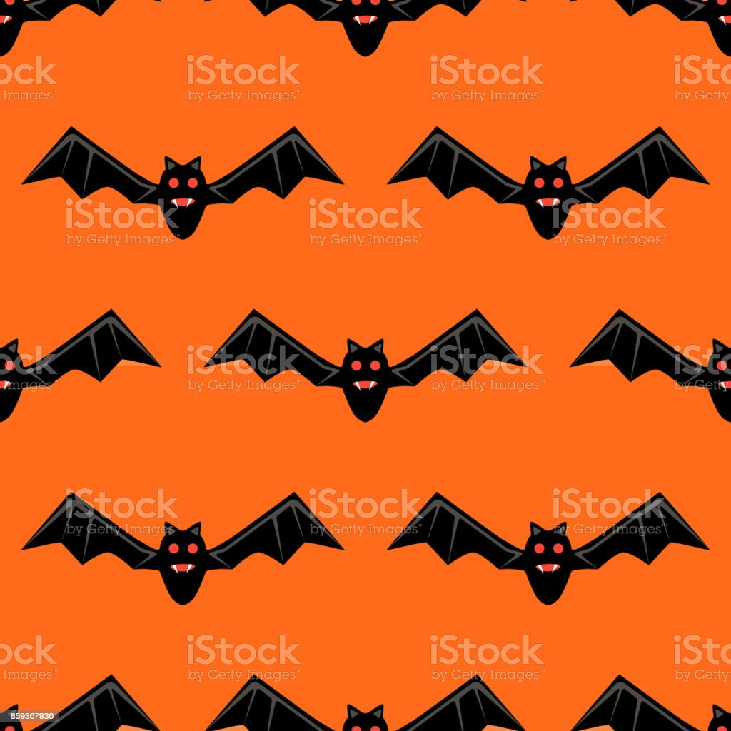 seamless pattern with bats vector bats isolated on orange background