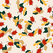 Seamless pattern with beatles with bright forms.