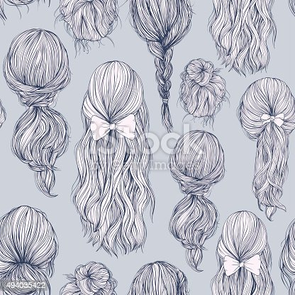istock Seamless pattern with beautiful female hairstyle. 494035422