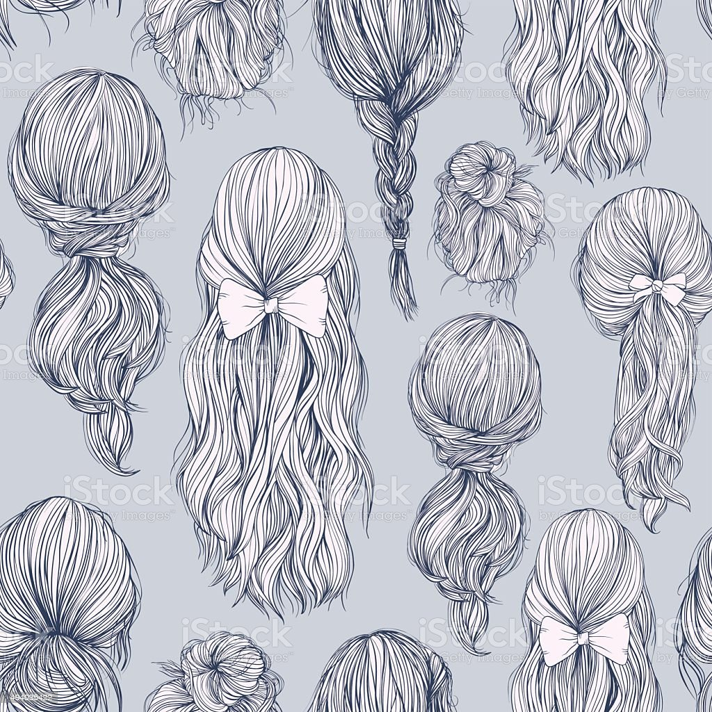 Seamless pattern with beautiful female hairstyle. vector art illustration