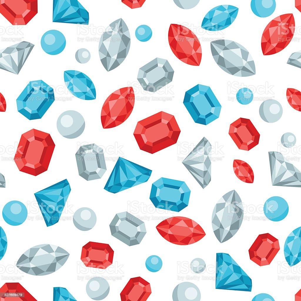 Seamless Pattern With Beautiful Jewelry Precious Stones Stock ...