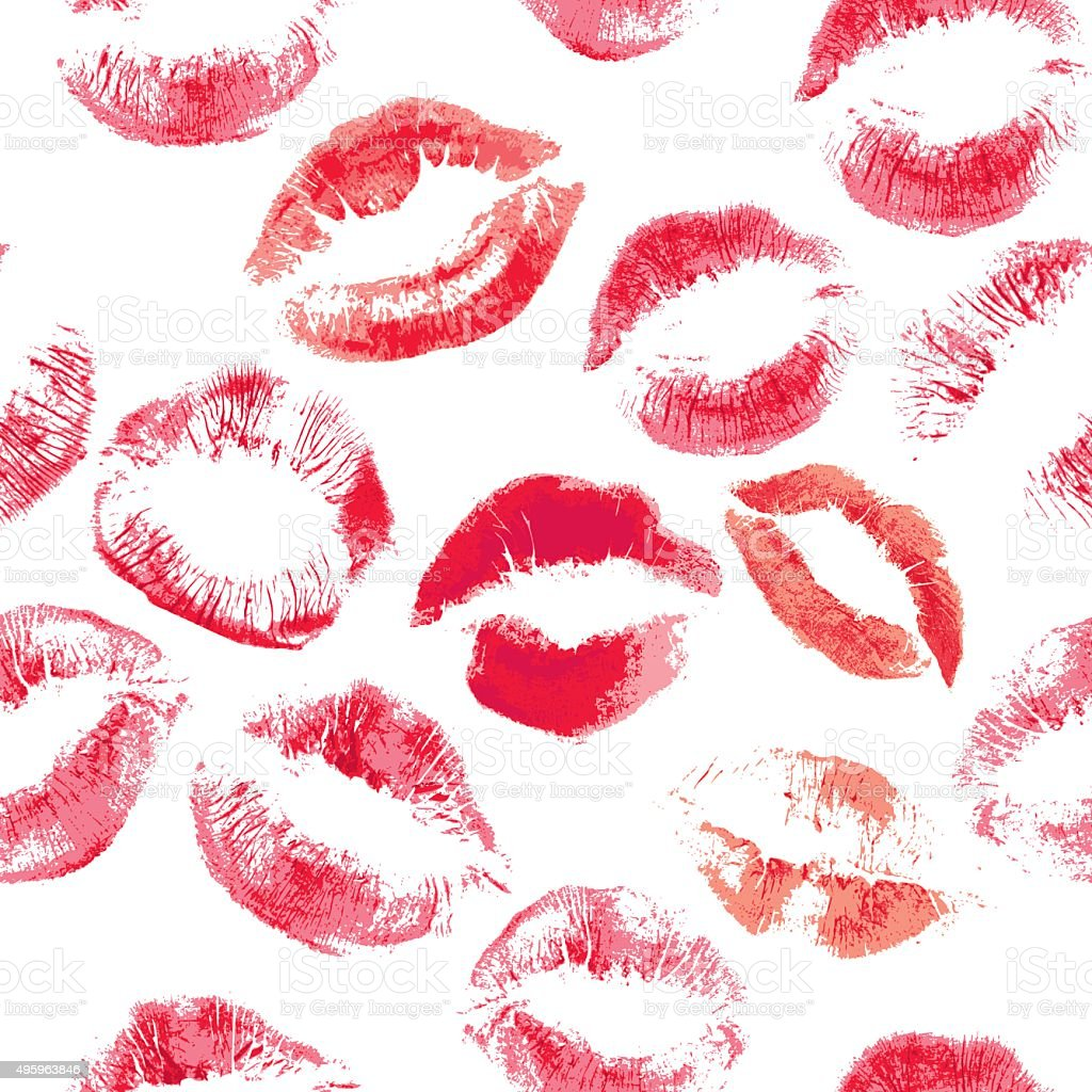 Seamless pattern with beautiful red colors lips prints vector art illustration