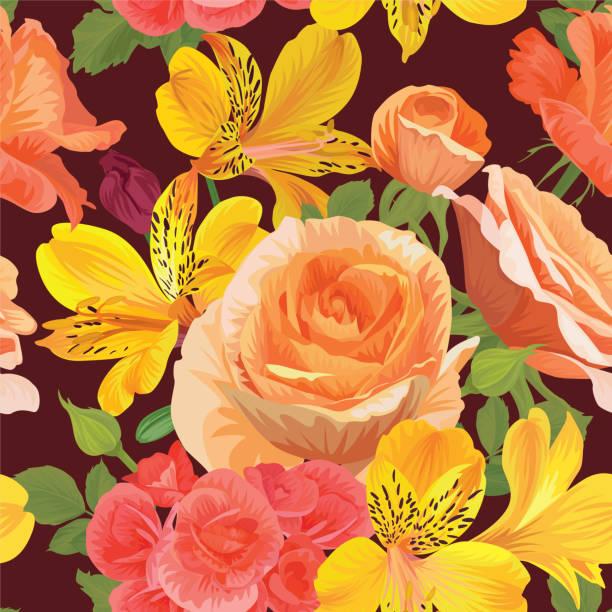nahtlose muster mit wunderschönen rosen-blumen in der farbe orange, begonie blüte und alstroemeria lilie auf braunem hintergrundvorlage. - inkalilie stock-grafiken, -clipart, -cartoons und -symbole