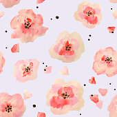 Seamless pattern with beautiful watercolor flowers on blue background, vector  illustration