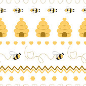 Seamless pattern with bee honey heart made in yellow colors Cute background in kids cartoon style Vector illustration. Fabric textile design for baby or girl cloth Wallpaper wrap cover wrapping package