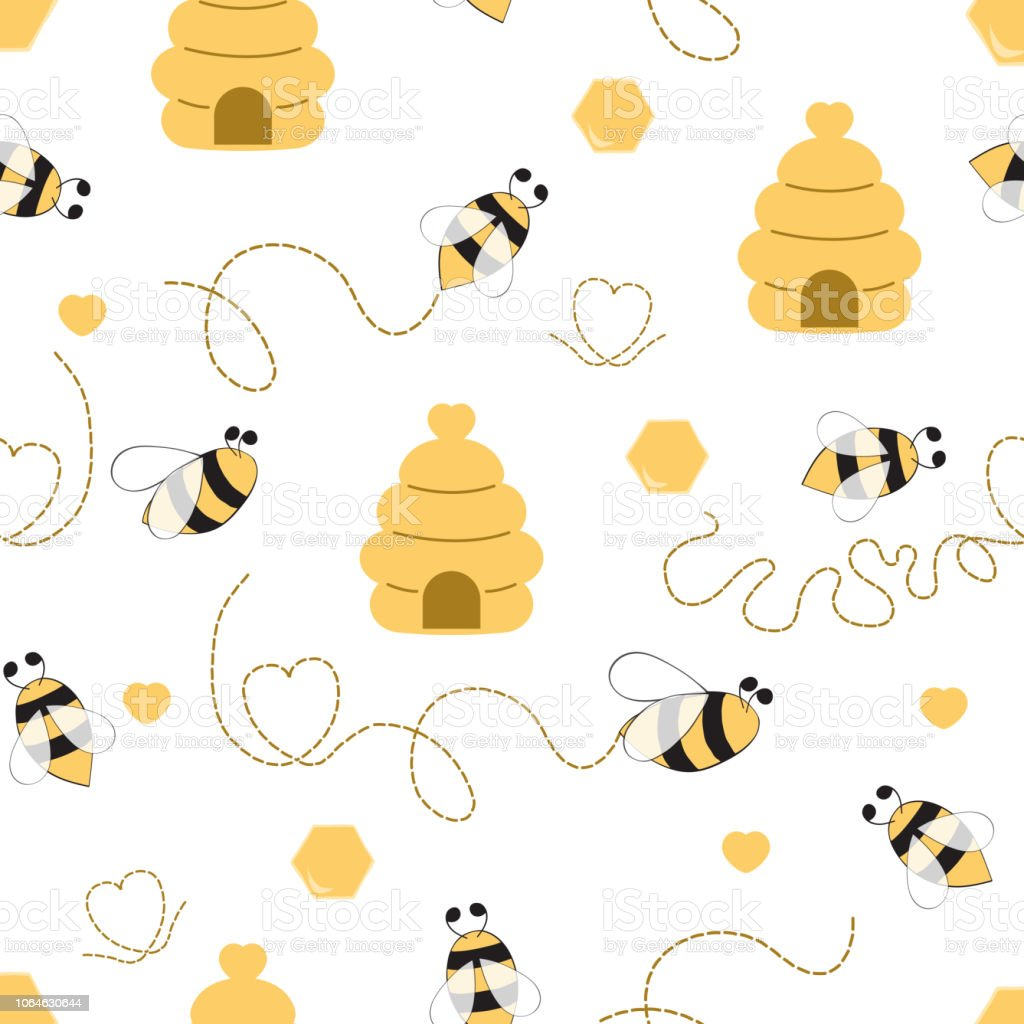 Seamless Pattern With Bee Honey Bee Hive In Vector Cartoon ...