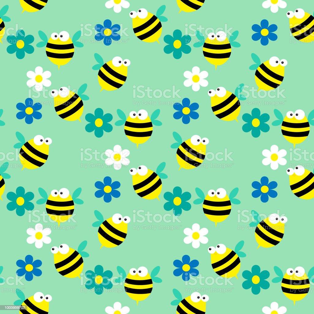 Nahtlose Muster mit Bienen und Blumen auf blauem Hintergrund – Vektorgrafik