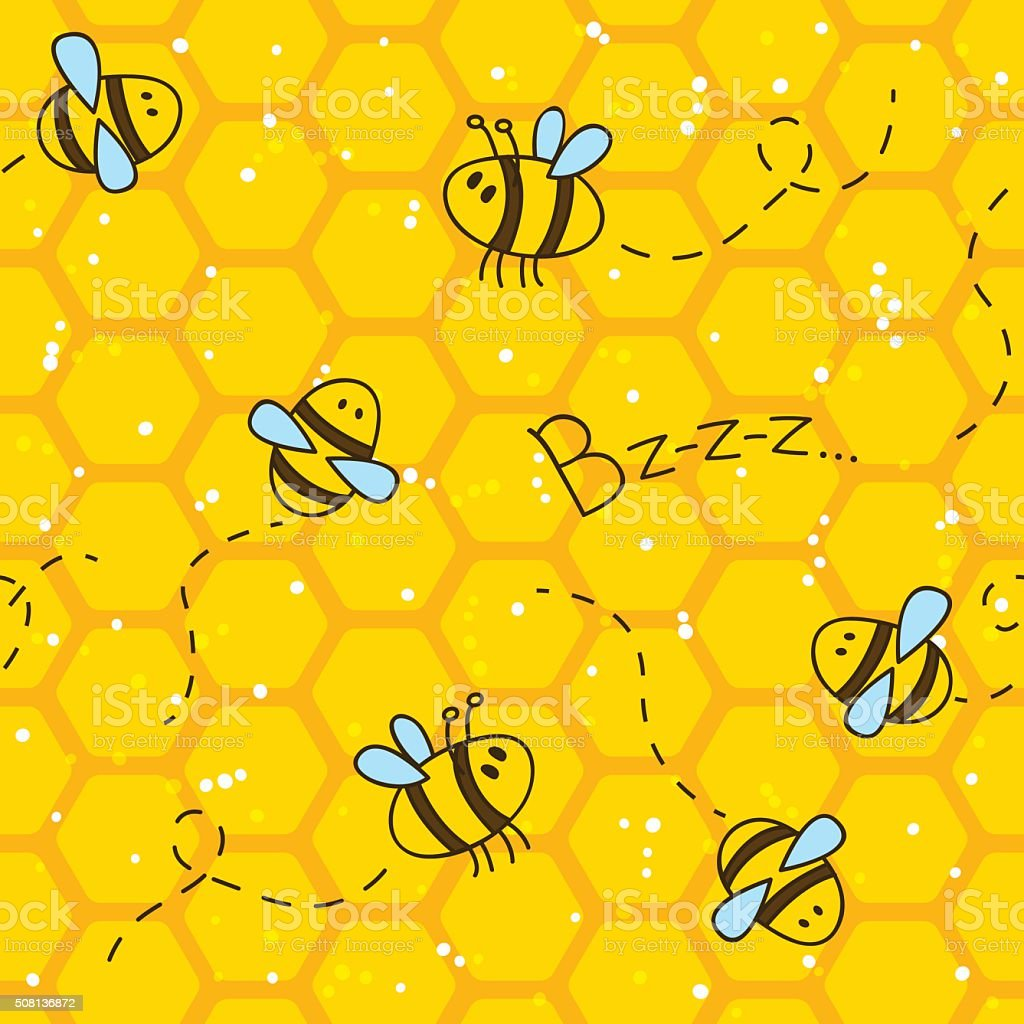 Seamless pattern with bees and honeycombs vector art illustration