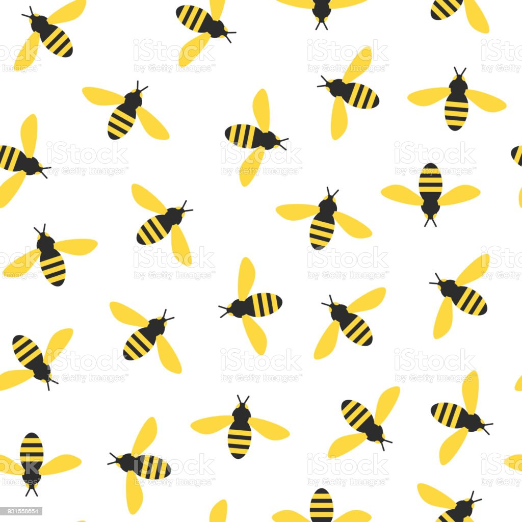 seamless pattern with bees vector art illustration