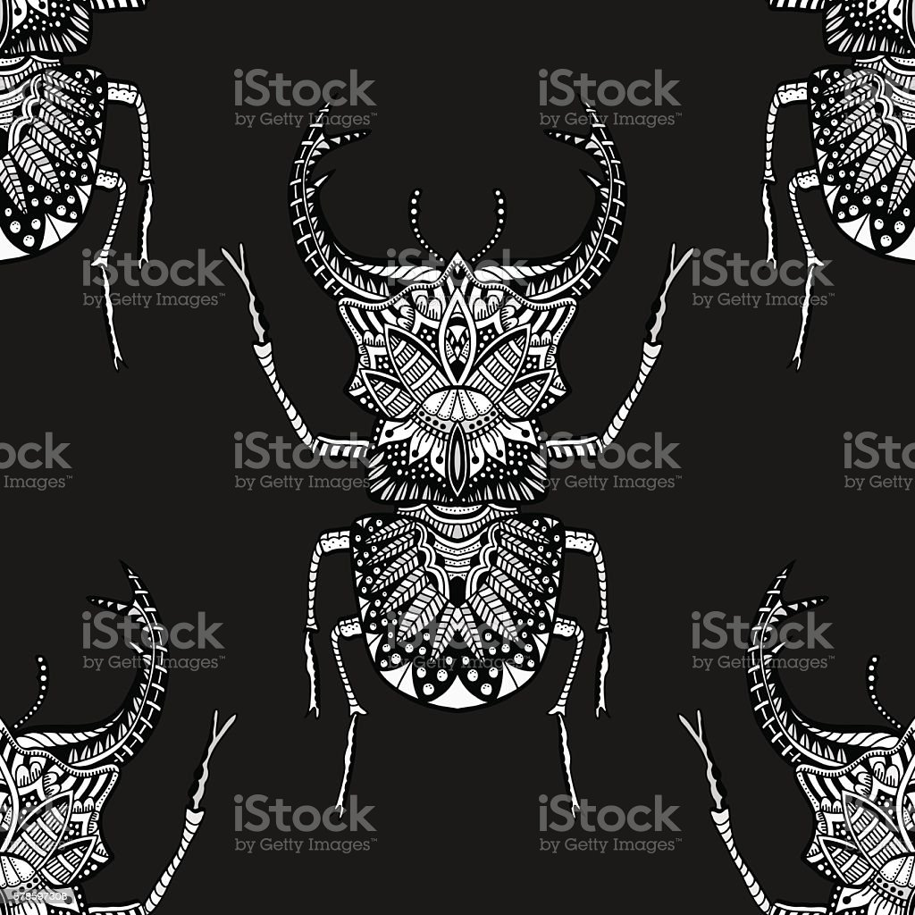 seamless pattern with beetle vector art illustration