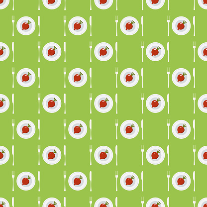 Seamless pattern with beetroots on plates with fork and knife. diet pattern