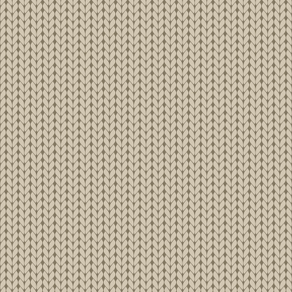 Seamless pattern with beige realistic knit texture.