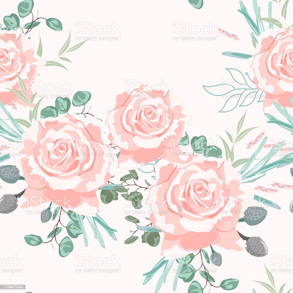 Seamless Pattern With Beige Roses With Herbs And Eucalyptus Hand Drawn Background Floral Pattern For Wallpaper Or Fabric Pastel Background Stock
