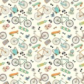 Seamless pattern with bicycles, boards and accsessories