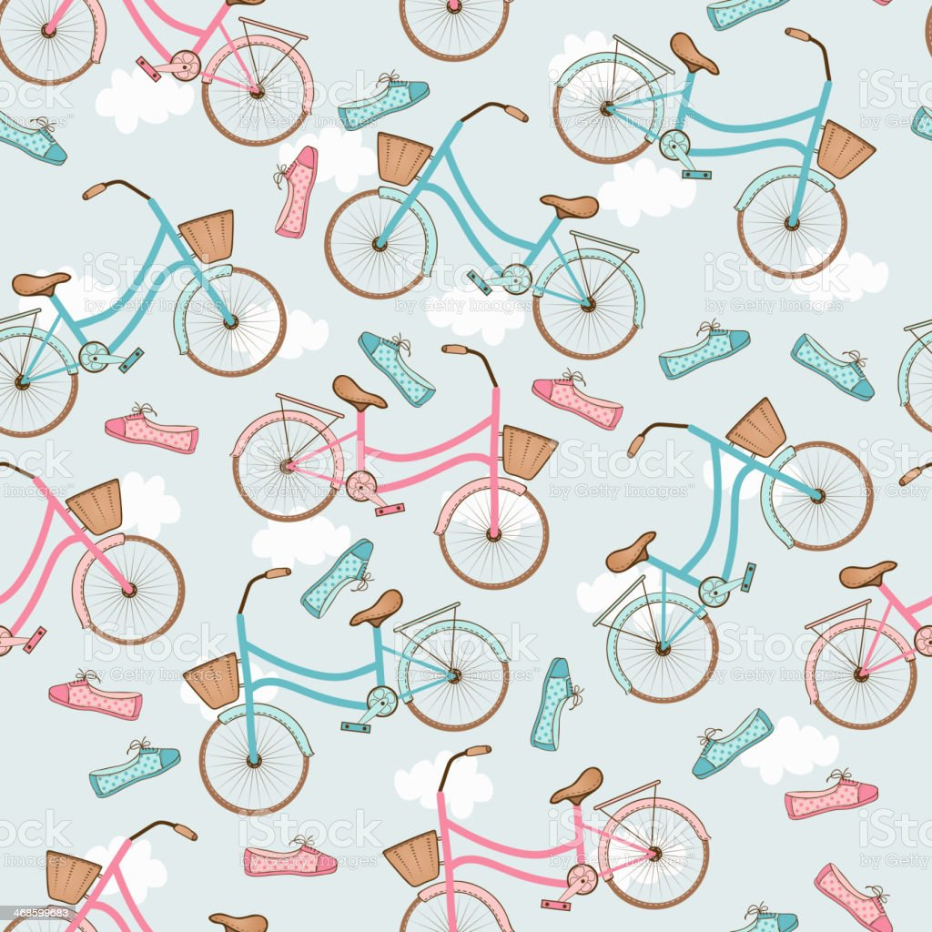 Seamless pattern with bicycles. royalty-free stock vector art