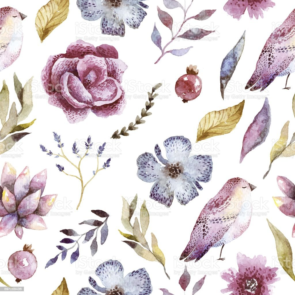 Seamless pattern with bird and flowers watercolor. Lizenzfreies seamless pattern with bird and flowers watercolor stock vektor art und mehr bilder von altertümlich