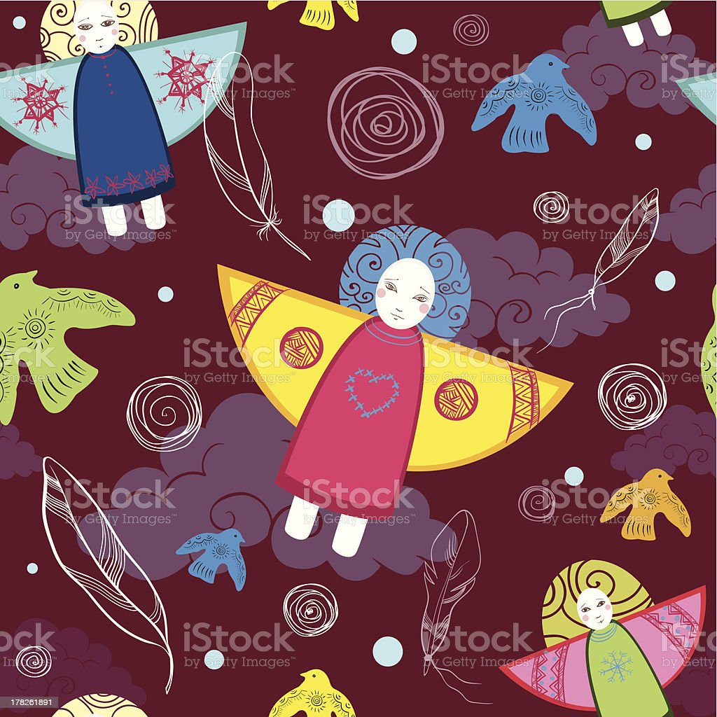 seamless pattern with birds and angels royalty-free stock vector art