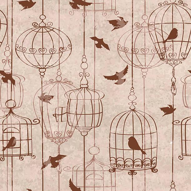 illustrations, cliparts, dessins animés et icônes de motif sans couture avec oiseaux et cage - dessin cage a oiseaux