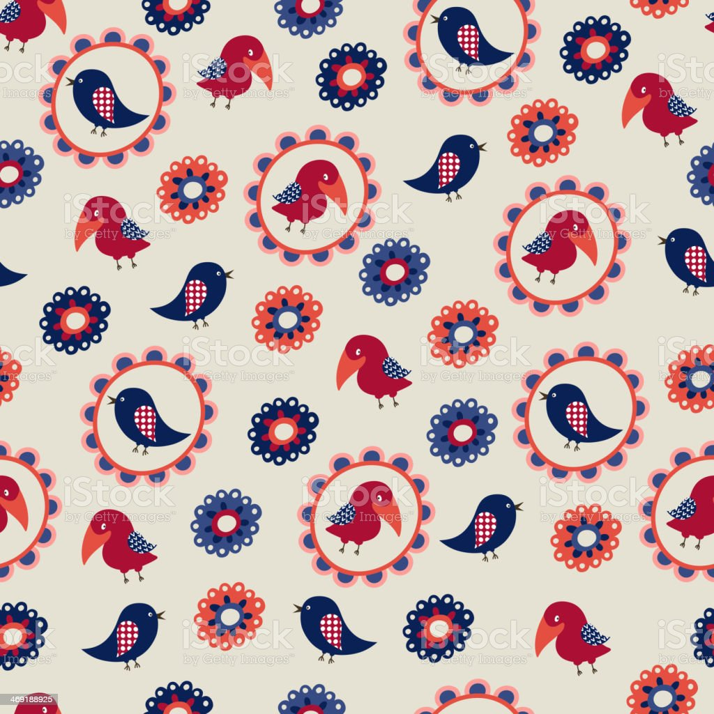 Seamless pattern with birds and flowers royalty-free stock vector art