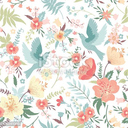 istock Seamless pattern with birds and flowers. 476241310