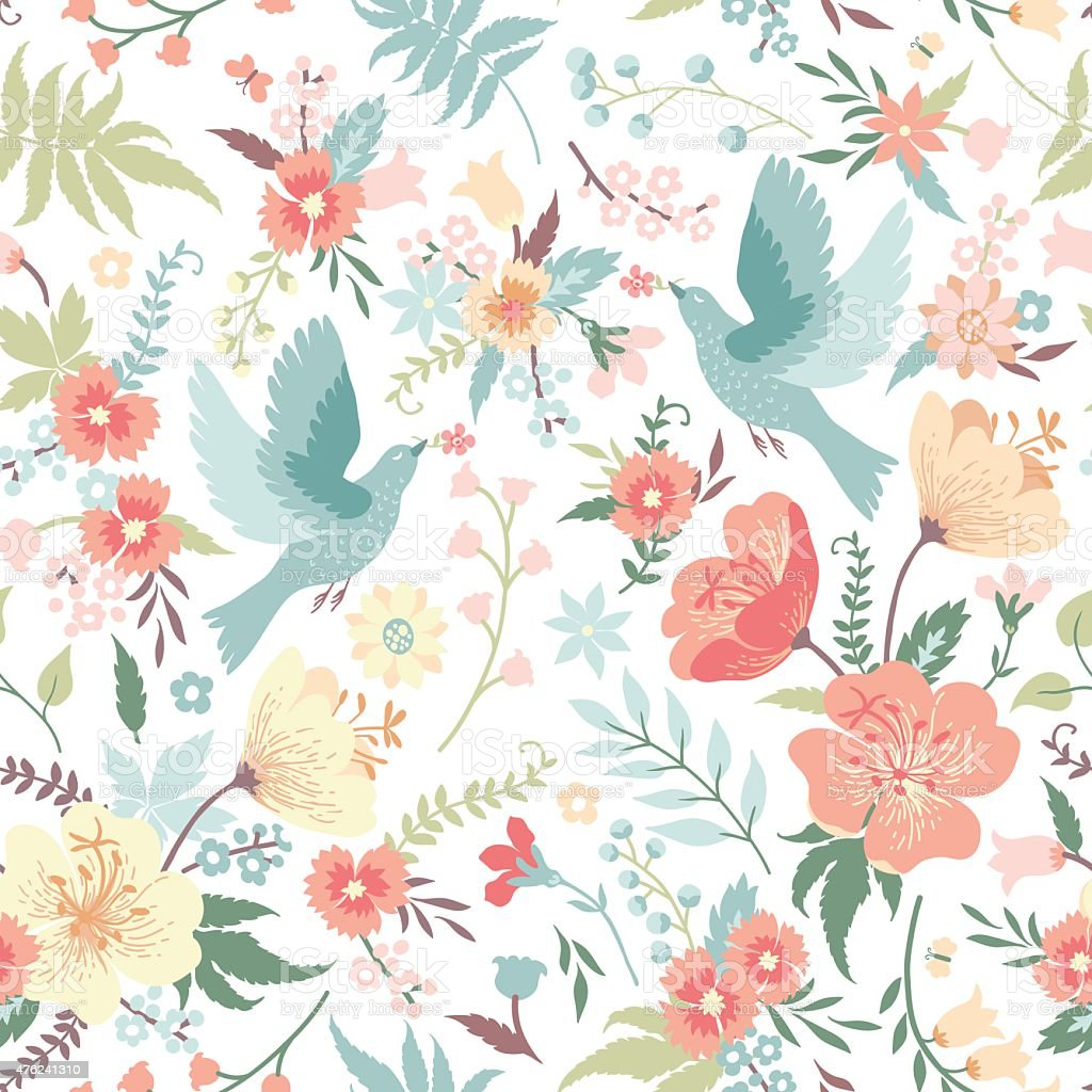 Seamless pattern with birds and flowers. vector art illustration