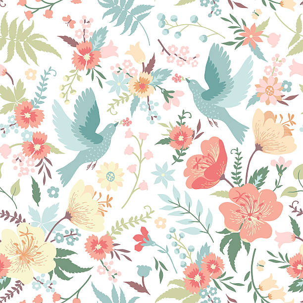 Seamless pattern with birds and flowers. Cute vector seamless pattern with birds and flowers in pastel colors. bird backgrounds stock illustrations