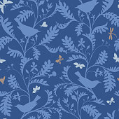 Birds on the tree branches. Seamless pattern. Animal silhouettes in vintage style. Nature motif with small birds, boughs with leaves. Textile fashion design for fabric, kids, child and nursery room.