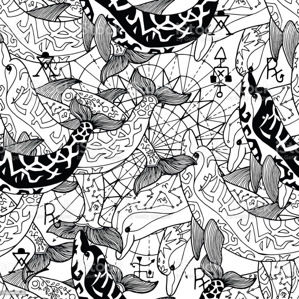 Ilustración de Patrón Sin Fisuras Con Delfines Decorados Blanco Y ...