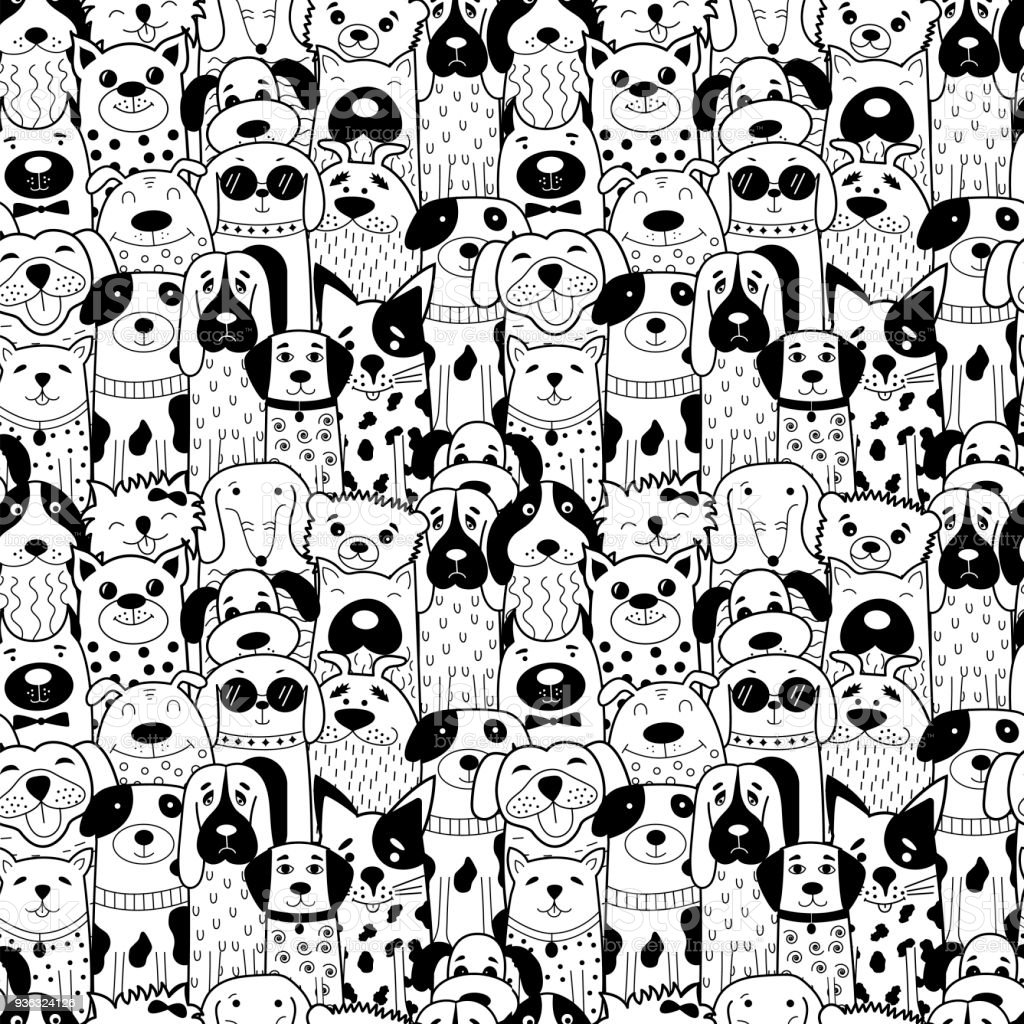 Seamless pattern with black and white doodle dogs.