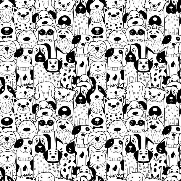 seamless pattern with black and white doodle dogs. - animals background stock illustrations