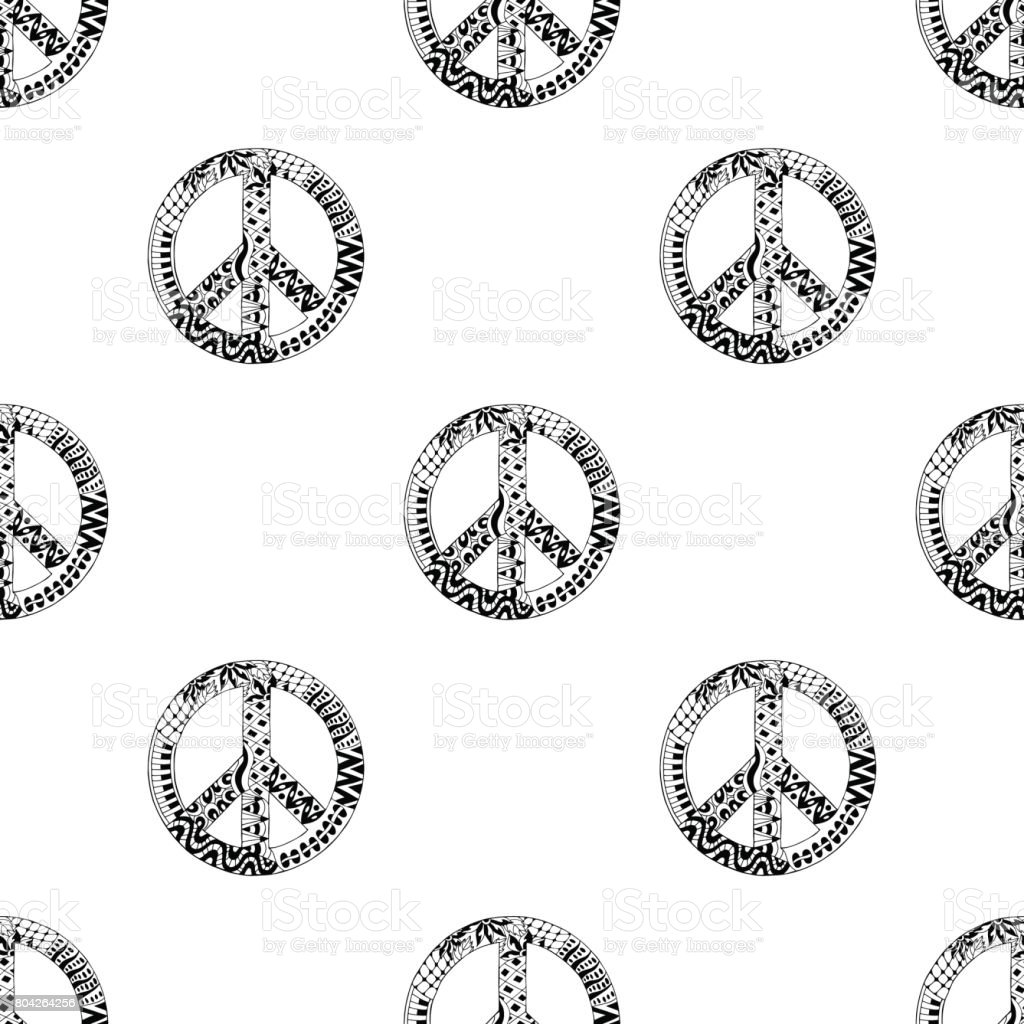 Seamless Pattern With Black And White Hippie Peace Symbol In
