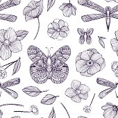 Seamless pattern with black and white ornamental flowers, butterflies.