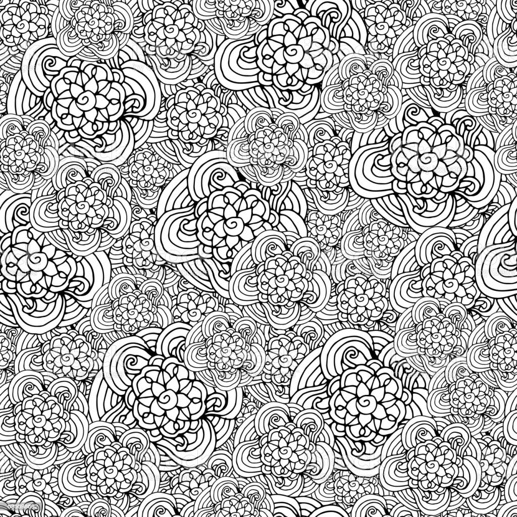 Seamless pattern with black and white stylized curls flowers, waves royalty-free seamless pattern with black and white stylized curls flowers waves stock vector art & more images of abstract